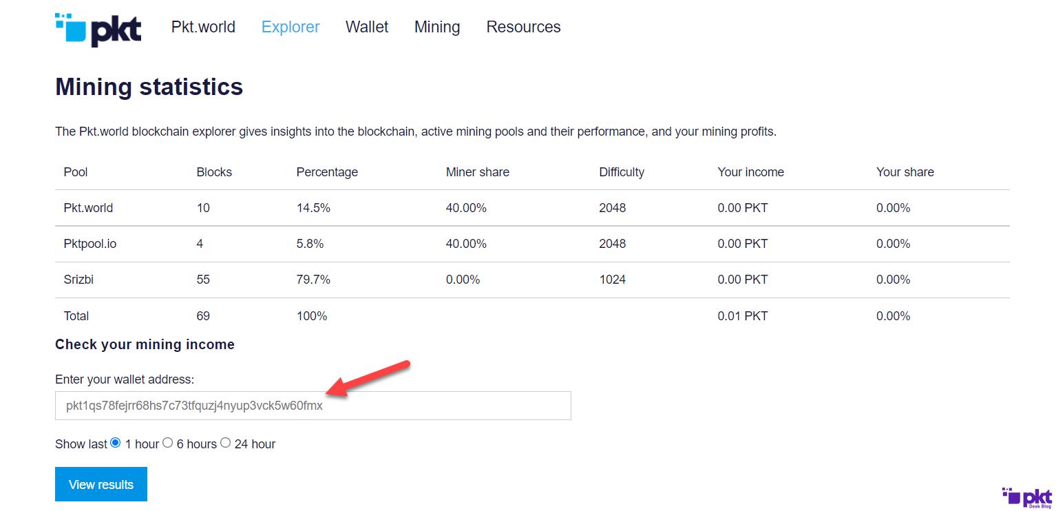 PKT Explorer for checking Mining Balance