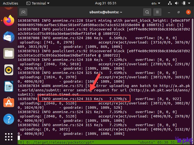 PKT is mining on Ubuntu
