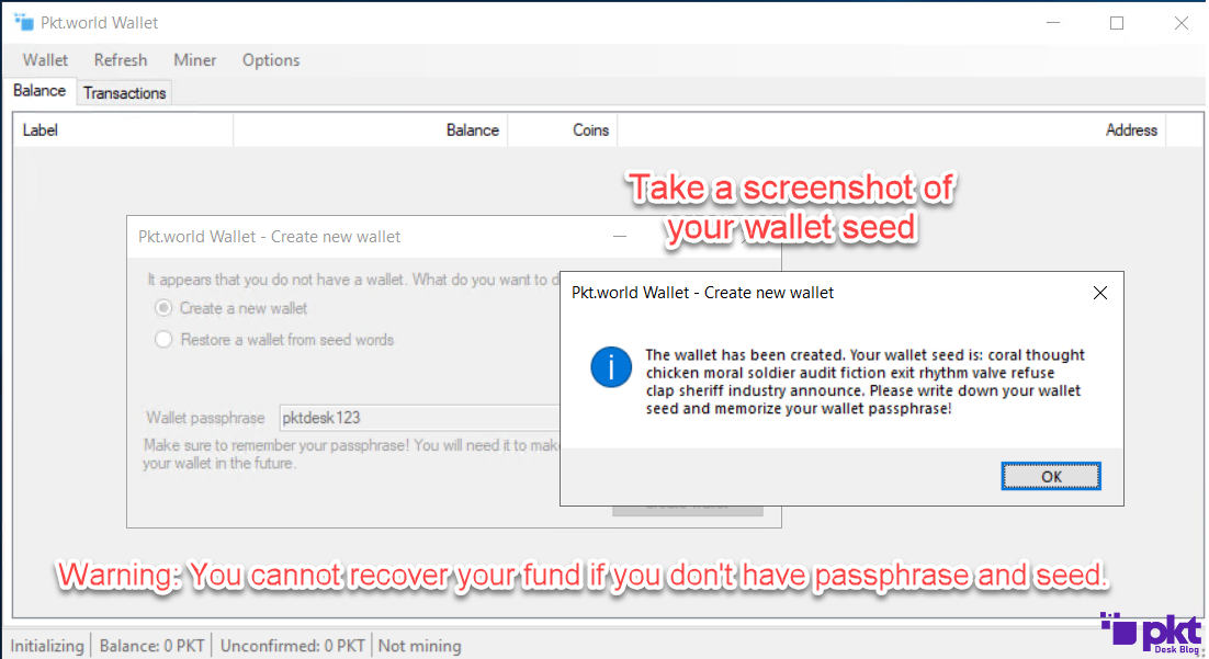 Pkt.world Wallet Seed and Passphrase 1