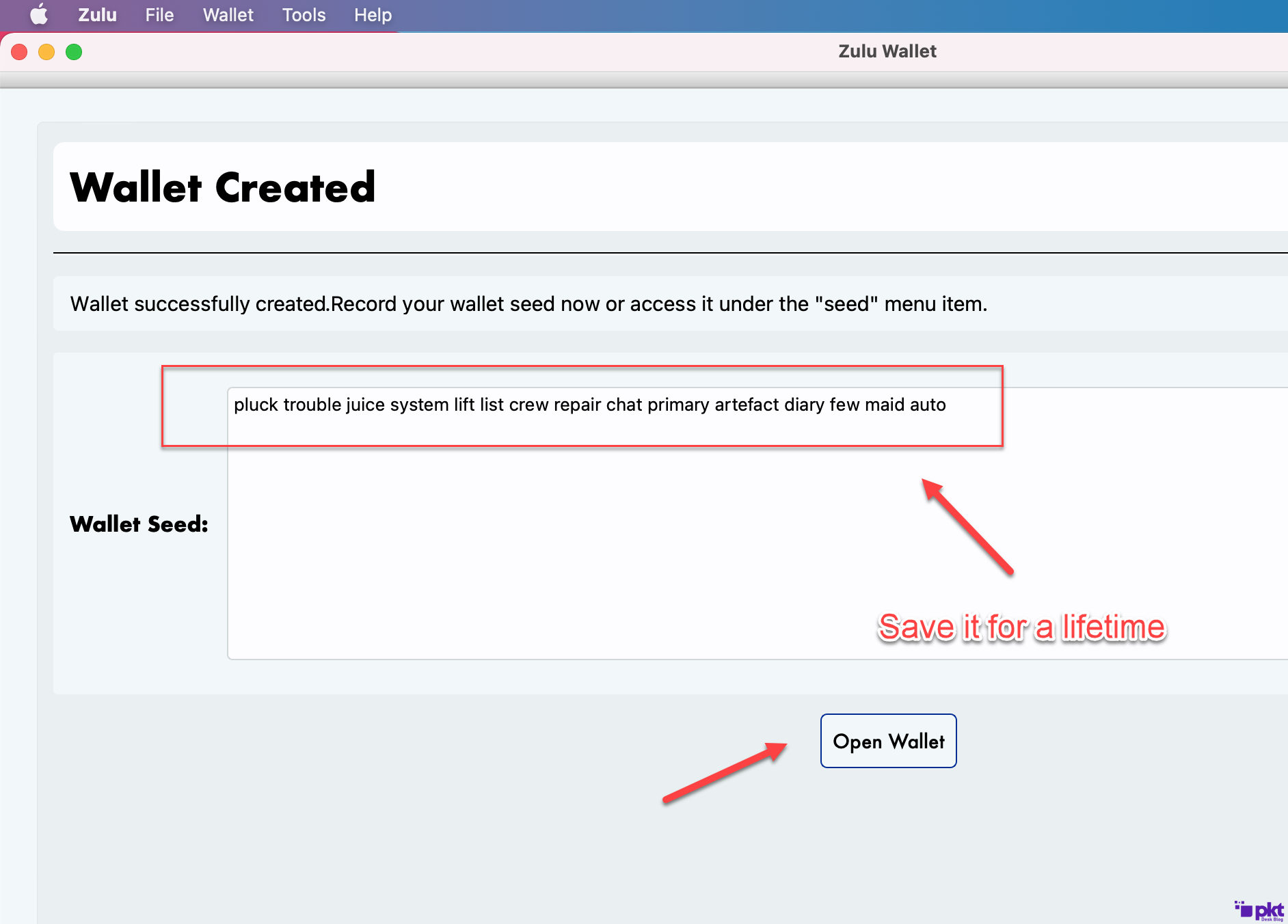 Save wallet seed for PKT MAC