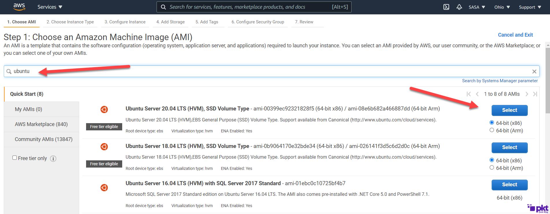 Select Ubuntu AWS